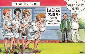 Ladies Bowls Bowling Club Pavillion 1970s Comic Humour Postcard