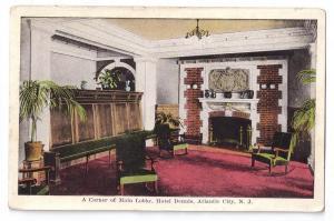 Atlantic City NJ Hotel Dennis Lobby Vintage Kropp Postcard
