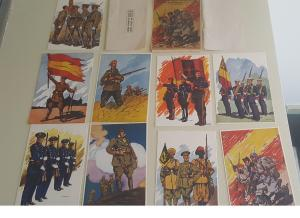 Mint Spain Civil War Postcard set 9 Saviors of the Nation Fascist Army