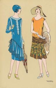ART DECO ; WAITRED ; Dual Female Fashion portraits #3, 1910-20s