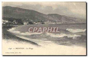 Old Postcard Menton The Beach