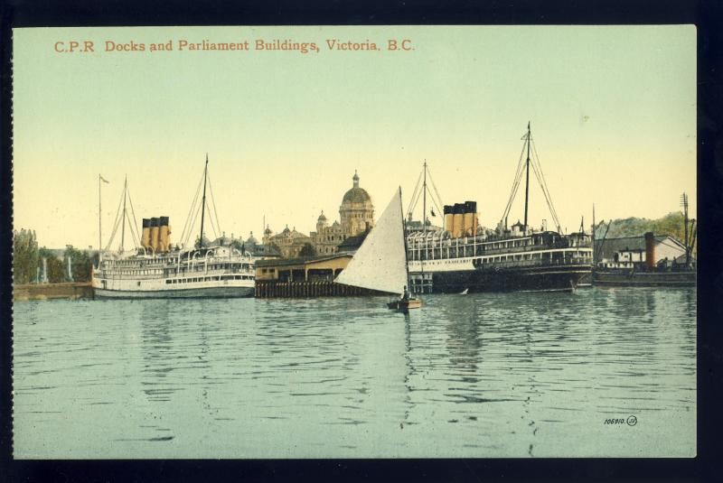 Victoria, British Columbia/BC Canada Postcard, CPR Docks, Parliament Buildings
