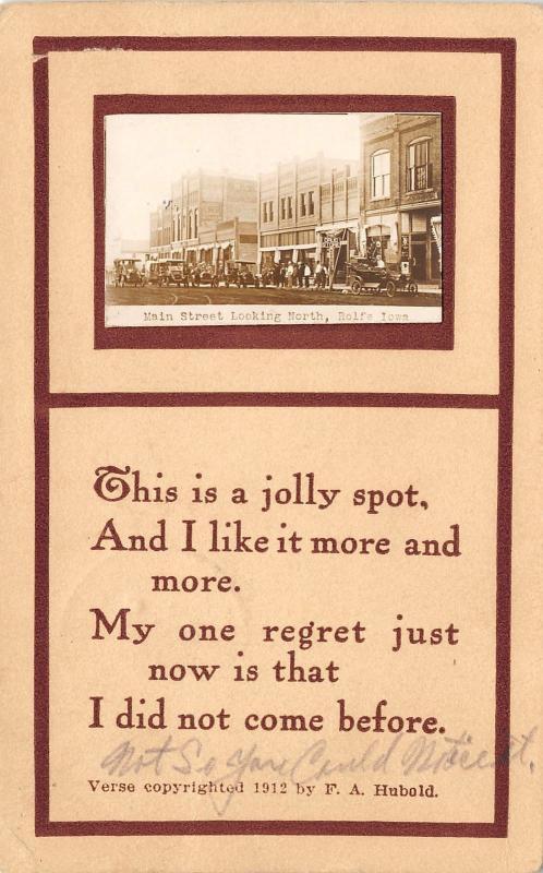 Rolfe Iowa~Main Street~Vintage Car Parade~Drug Store~A Jolly Spot~1914 RPPC