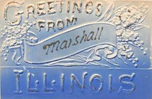 F47/ Marshall Illinois Postcard c1910 Glitter Greetings from Marshall
