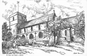 Postcard Art Sketch EASTRY St Mary The Virgin Church KENT