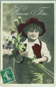 Hand Colored, Bonne Fere, Boy with Flowers