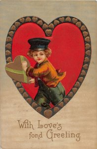 F46/ Valentine's Day Love Holiday Postcard c1909 Heart Boy Cap Gold 21