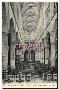 Old Postcard Caudebec en Caux Nave of the Church of Our Lady