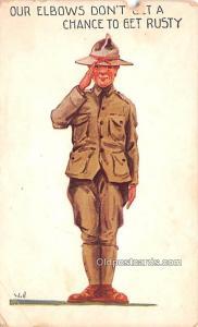 Military Comic Postcard, Old Vintage Antique Post Card Artist Wall Unused