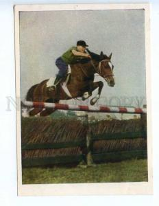 237624 USSR 1954 SPORT equestrian Riding overcoming obstacles