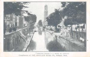 Utrecht Canal Scene Holland Rusk Co Antique Postcard J68562