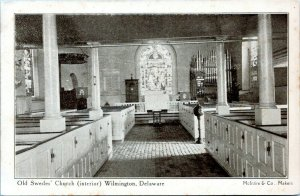 1905 Old Swedes Church Interior View Wilmington Delaware Postcard DO