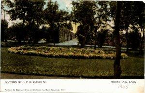 Postcard SK Moose Jaw Section of C. P. R. Gardens 1908 Kinsale ON Cancel K12
