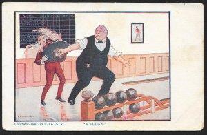 A Strike Man Bowling Hits Waiter Used c1910s