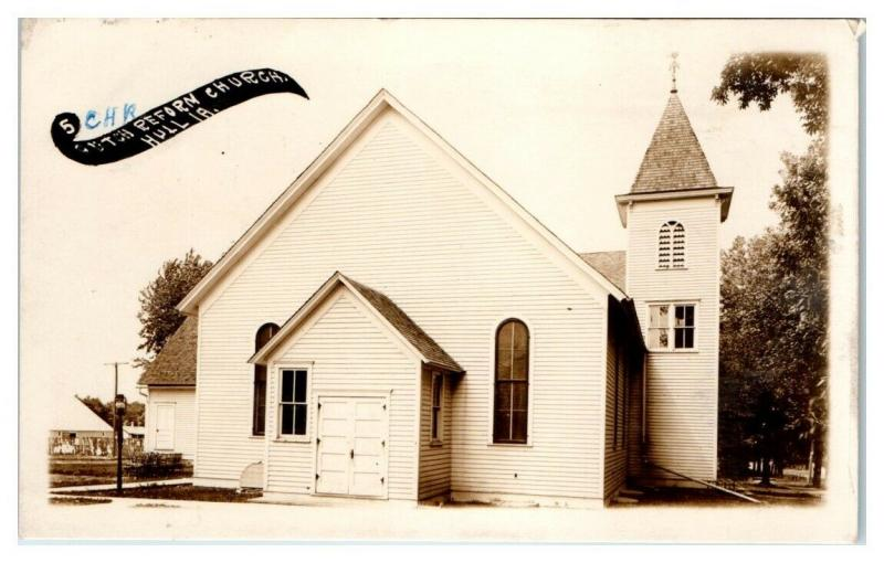 1912 RPPC CHR Reform Church, Hull, IA Real Photo Postcard