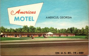 Georgia, Americus Motel, Highway 19-280, GA HOTEL UNPOSTED POSTCARD