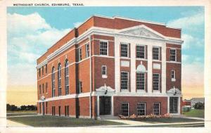 Edinburg Texas Methodist Church Street View Antique Postcard K46862