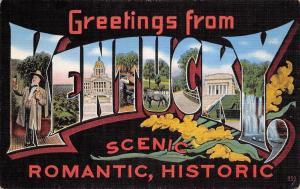 Kentucky~State Large Letter Linen Postcard~Southern Planter~Whiskey~Black Back
