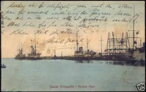 denmark, AARHUS ÅRHUS, Danske Orlogsskibe i Havn (1909)