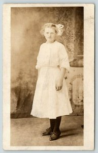 RPPC Bernice White~Born 1898 @ 13 Years Old~Bow in Hair~Eyes Focused~RPPC 1911