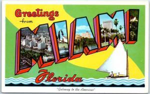 MIAMI Florida Large Letter Postcard Gateway to the Americas Curteich Chrome