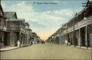 Colon Panama D Street c1910 Postcard