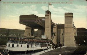 Peterboro Ontario Steamer Otonabee in Lift Lock c1910 Postcard