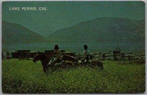 LAKE PERRIS, California Postcard Horseback Riding Scene / Lake View 1970s Chrome