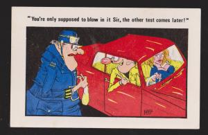 Comic Postcard - Man & Woman In Car Stopped By Policeman - Used 1979