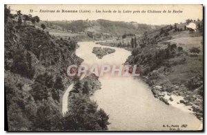 Old Postcard Around Roanne (Loire) The banks of the Loire near the Chateau Roche