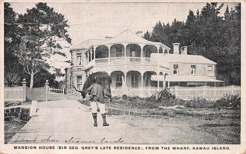 Mansion House, from the Wharf, Kawau Is. New Zealand, Early Postcard