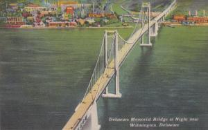 Delaware Memorial Bridge at Night near Wilmington, Delaware, 30-40s
