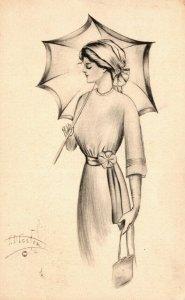 Illustration of a woman, FD Foster Women Original Vintage Postcard