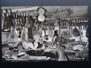 Austria Mittenwald VIOLIN MAKER Johann Reiter In his Workshop - Old RP Postcard