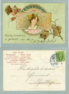 Sweden.1904.Congrat's.Lady With Flowers.Embossed.Gold.Post Used