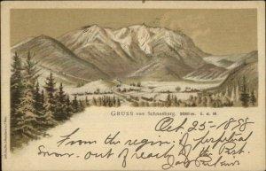 Gruss vom Schneeberg Mountain Austria 1890s Postcard