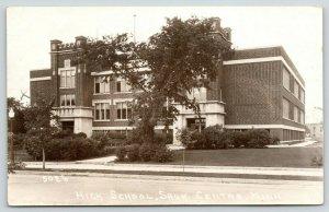 Sauk Centre Minnesota~High School~Cousin Nell Works 1 Floor West Side~1938 RPPC