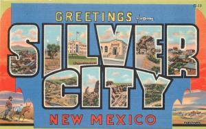 1940s Large letters multi View Silver City New Mexico Teich linen postcard 5686