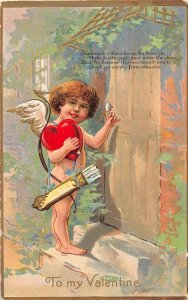 F39/ Valentine's Day Love Holiday Postcard c1910 Cupid Knock Door 11