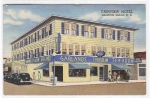 Fairview Hotel Cars Tea Rooms Hampton Beach New Hampshire 1953 linen postcard