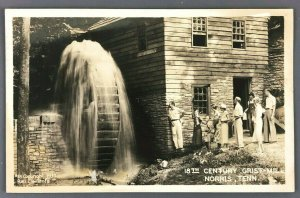 1937 Norris Tennessee 18th Century Grist Mill RPPC Postcard Water Wheel Tourist
