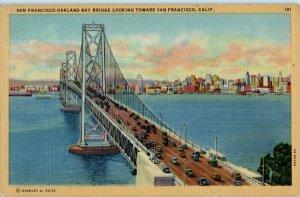 San Francisco Oakland Bay Bridge California Linen Postcard