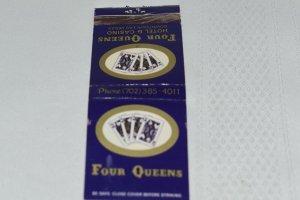 Four Queens Hotel and Casino Las Vegas Nevada Blue 20 Strike Matchbook Cover