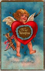 Vintage VALENTINE'S DAY Postcard Cupid Bow Arrows / Big Red Heart 1909 Cancel