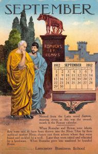 St Paul MN~Lancaster Business School~Romulus Remus~Sept 1912 Calendar Adv PC