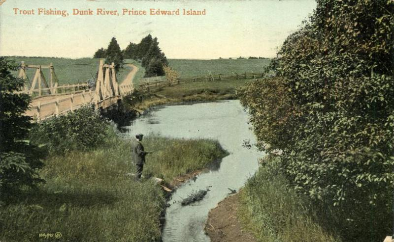 Trout Fishing on Dunk River - PEI - Prince Edward Island, Canada - pm 1910 - DB