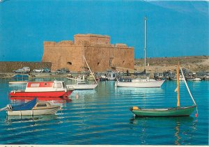 Postcard Cyprus historic Paphos sailing boats