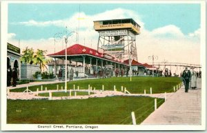 Portland, Oregon Postcard COUNCIL CREST AMUSEMENT PARK Observatory / Tower View