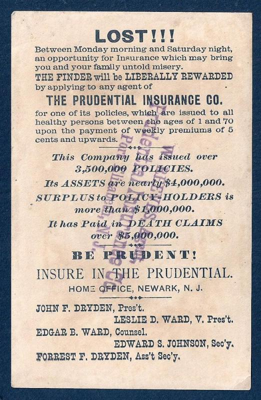 VICTORIAN TRADE CARD Prudential Insurance Company