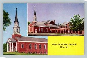Tifton GA, First Methodist Church, 12th Street & US 41 Chrome Georgia Postcard